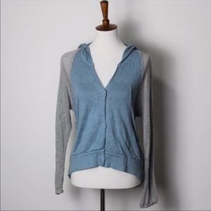 Free People Blue and White Snap Cardigan Sweater